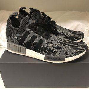 New Adidas NMD R1 Primeknit Glitch Gray size 13
